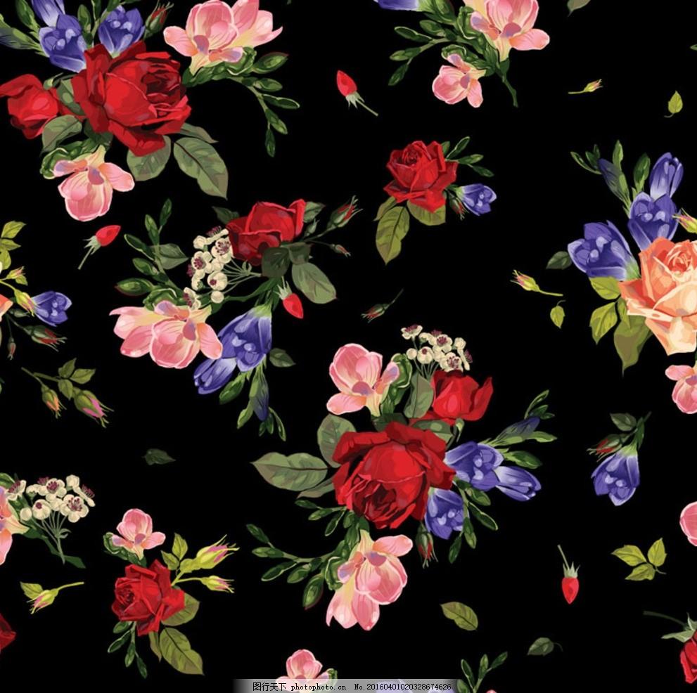 水彩花卉矢量素材 水彩 花卉 背景 黑色 欧式 矢量 设计 底纹边框