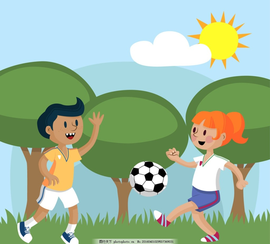 足球队手绘卡通海报