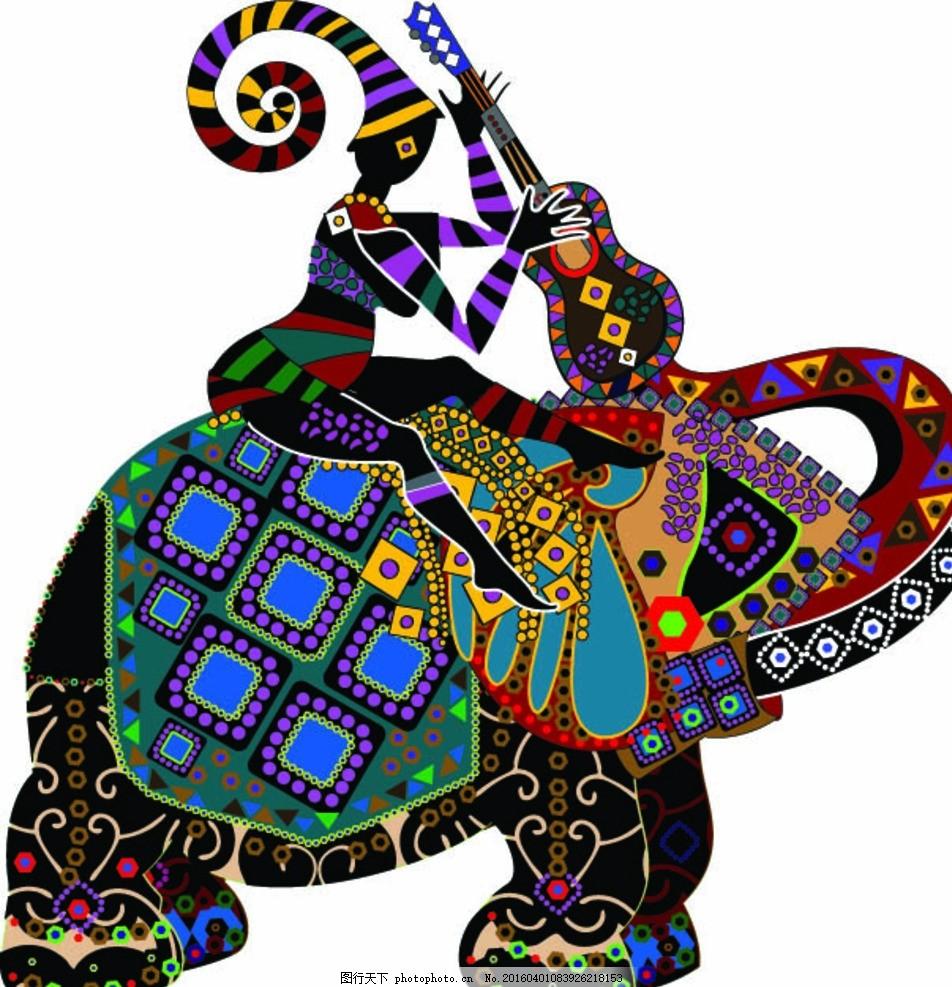 民族风大象 大象 动物 野生动物 动物世界 生物世界 民族风 花纹底纹