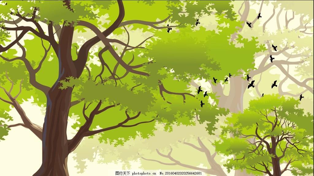 春天绿色树林 绿色树林 树林 燕子 鸟 树 春天风景 树木 大树 矢量