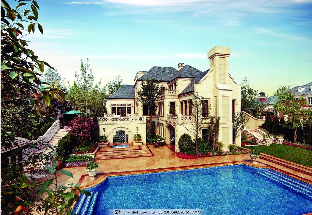 法式独栋别墅 绿城 法式别墅 游泳池别墅 米色别墅 摄影 建筑园林图片