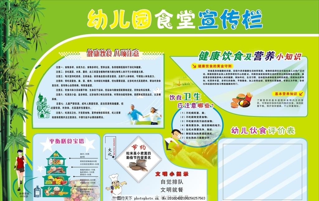 幼儿园 展板 卫生 孩子 健康 饮食 营养 小知识 节约 文明 任务 描写图片