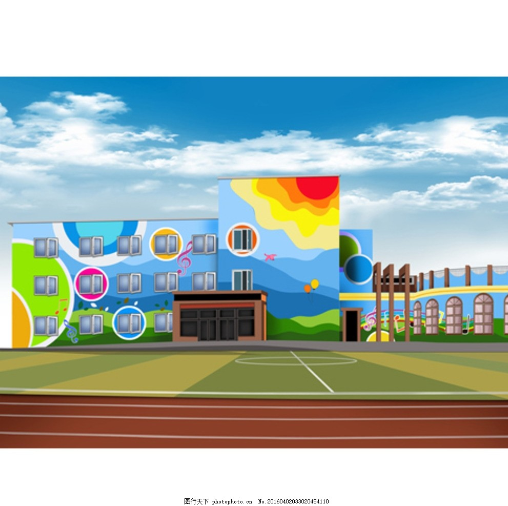 幼儿园外墙墙绘素材_幼儿园墙体彩绘图片_其他_PSD分层_图行天下图库