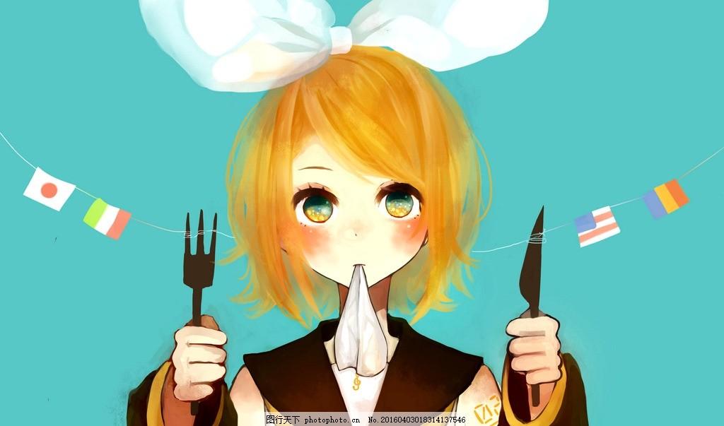 动漫女孩 绘画 萌系 可爱 刀叉 动漫动画