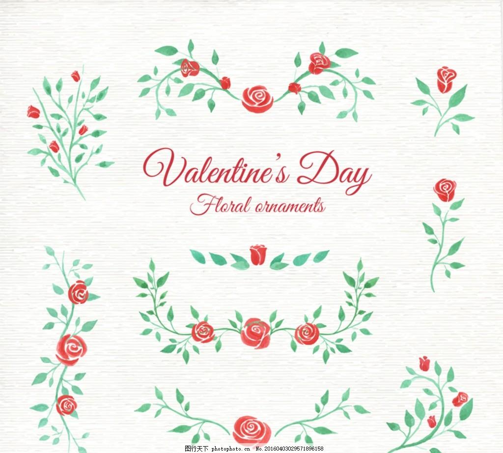 手绘玫瑰花朵 手绘卡 生日贺卡 花卉 爱心 婚礼贺卡 214 花 精美边款