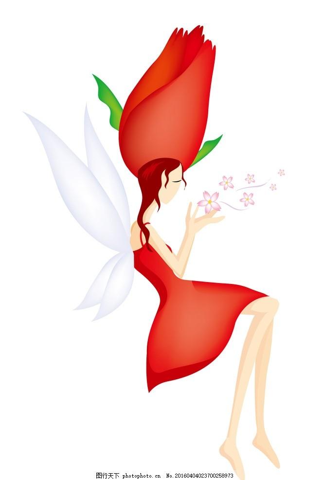 花仙子精灵美女 仙女 玫瑰花 卡通人物 矢量人物 人物卡通 韩国矢量