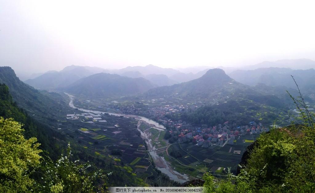 山间风景全景风貌 春天山顶 手机拍摄 农村全景图 新昌旅游 镜岭镇镜