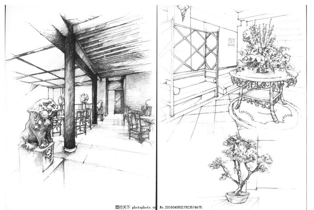 中式风格针管笔单色手绘装饰画