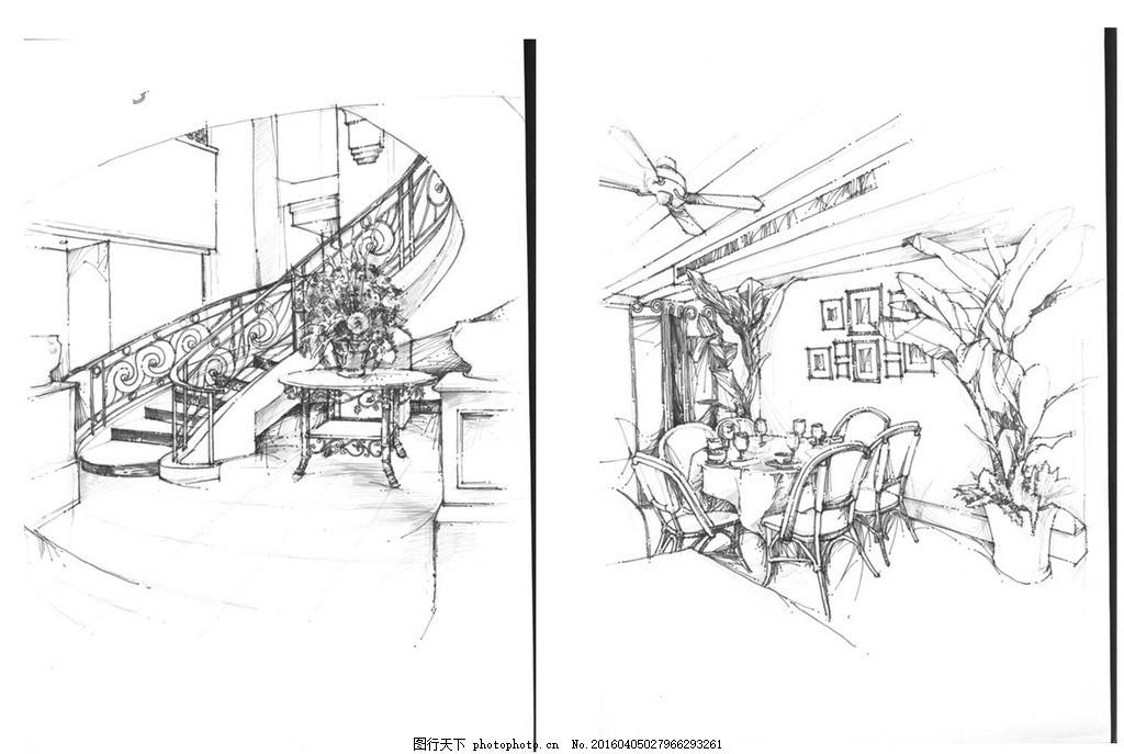 针管笔单色手绘室内透视效果图