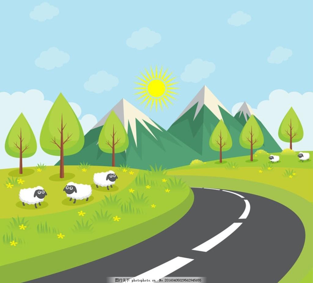 光线 光效 鸟 插画 背景 海报 画册 风景建筑 春天 郊游 春游 公路 马