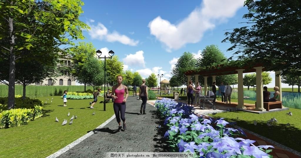 公园廊架景观效果图 沿河公园 公园景观设计 建筑小品 欧式风格建筑