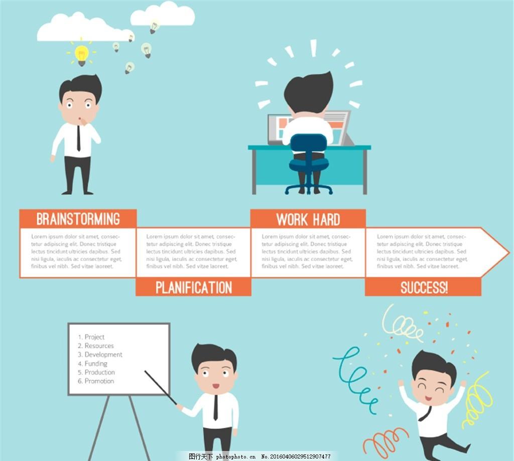 商务男子成功步骤图示矢量图