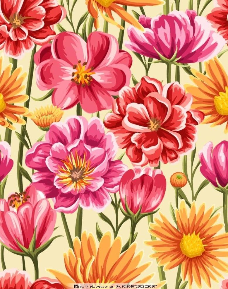 服装印花 服装图案 花纹背景 花朵 春天 花纹纹理 印花      底纹背景
