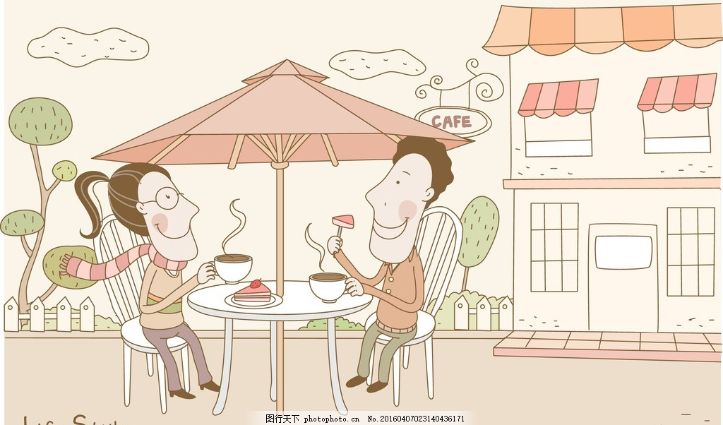 喝下午茶的卡通情侣 喝下午茶 喝咖啡 甜点 点心 咖啡屋 遮阳伞 桌椅