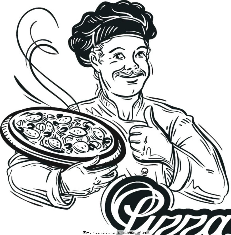 线性厨师绘画 竖大拇指 黑白人