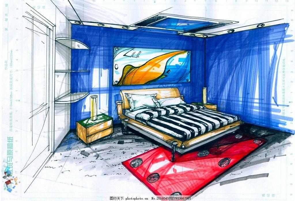 手绘马克笔卧室效果图 手绘             马克笔 两点透视 手绘卡通插