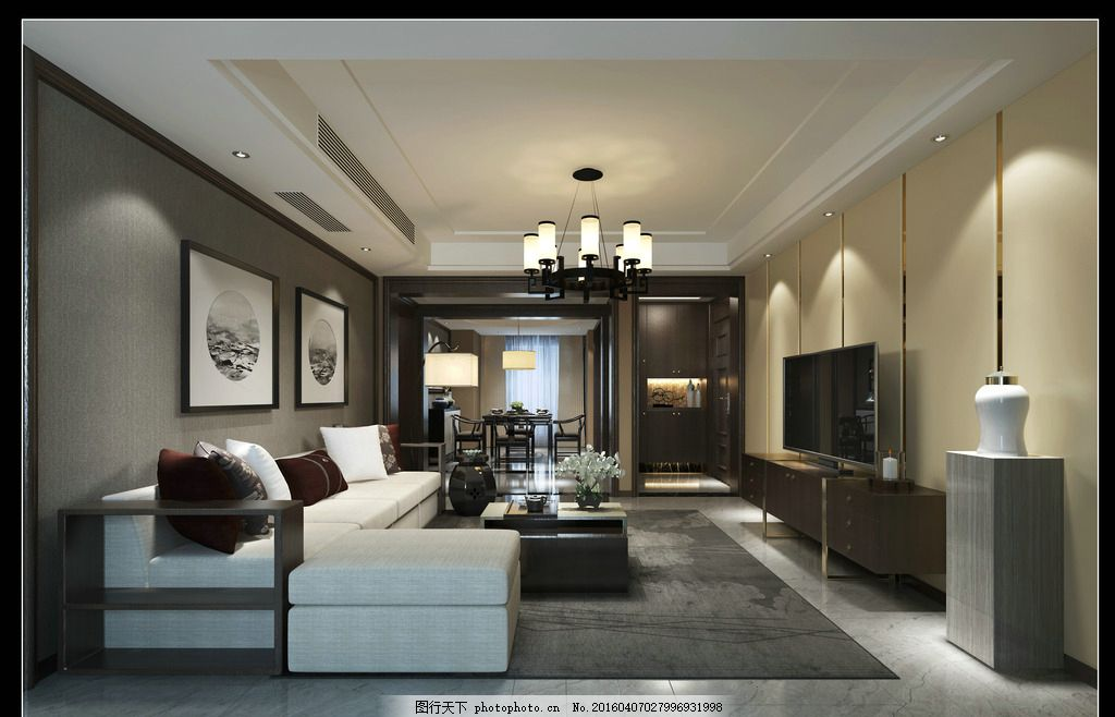 新中式的客厅效果图 新中式 布艺沙发 黑胡桃色 水曲柳饰面 鞋柜灯带