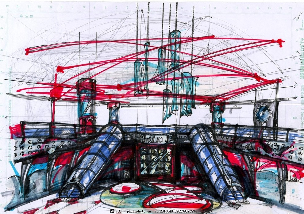 手绘大堂效果图 马克笔        一点透视 室内设计 大堂 手绘卡通插画