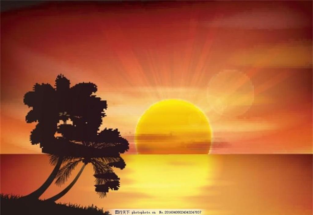 黄昏美景 大海风景 海面风景 夕阳美景 日落风景 卡通风景 插画