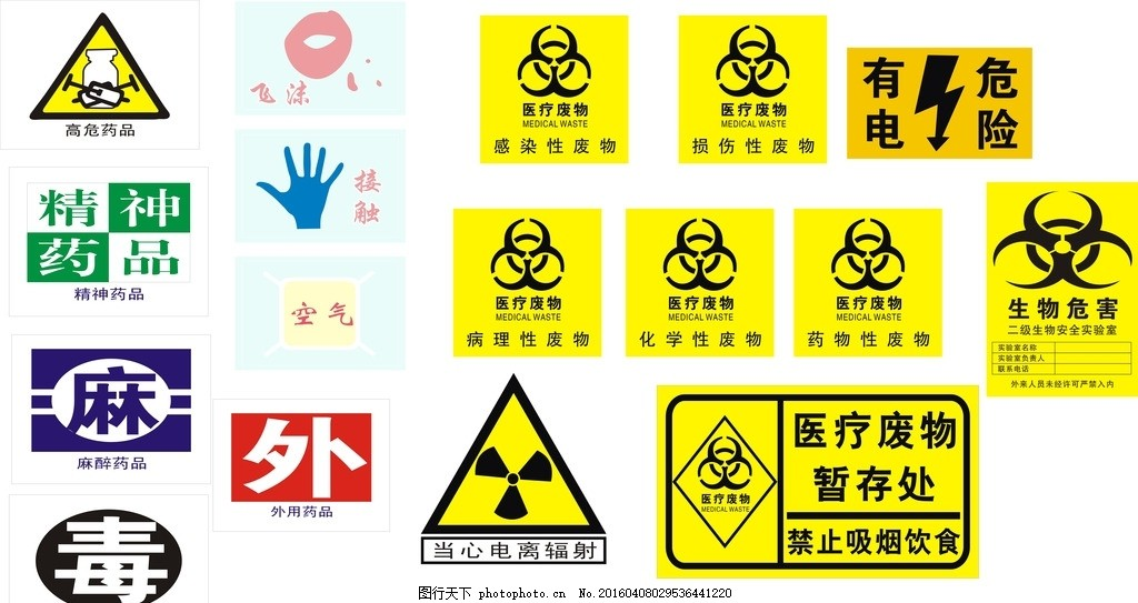 空气 接触 飞沫 当心电离辐射 制度牌 展版 cdr 电离 辐射 医疗废物图片