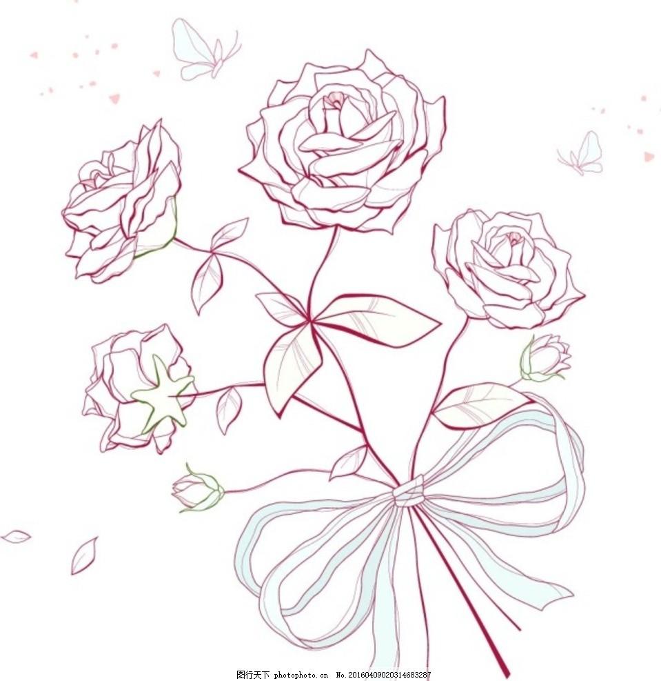 矢量线条玫瑰花