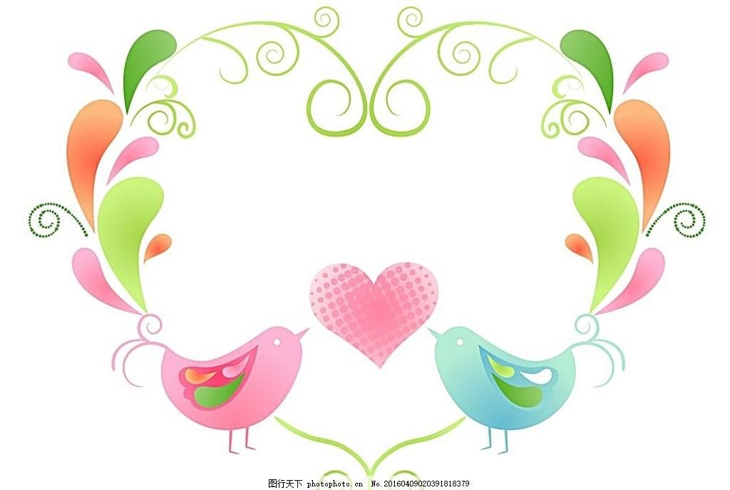 可爱卡通小鸟边框 卡通小鸟 卡通边框 爱心边框 感谢卡 红色小鸟 ai