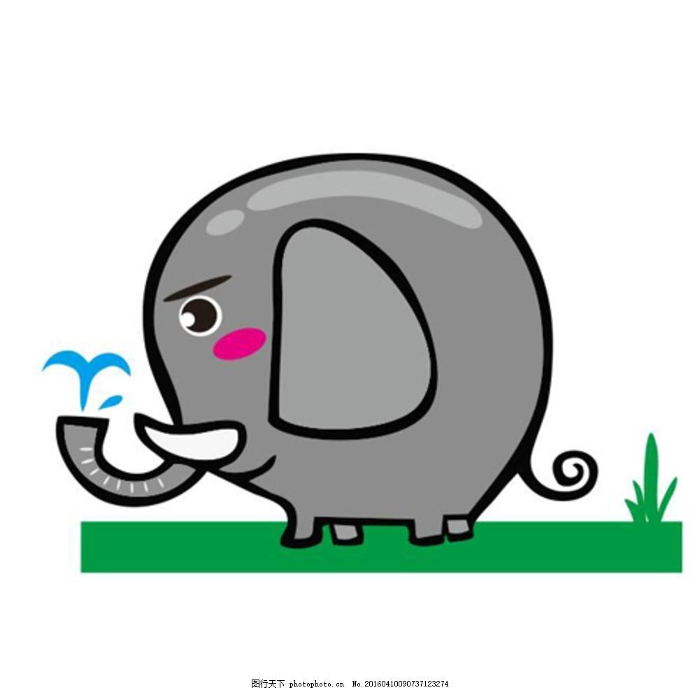 可爱的小象 喷水 小象 大象 幼儿园 卡通动物 可爱 草地上的象 漫画