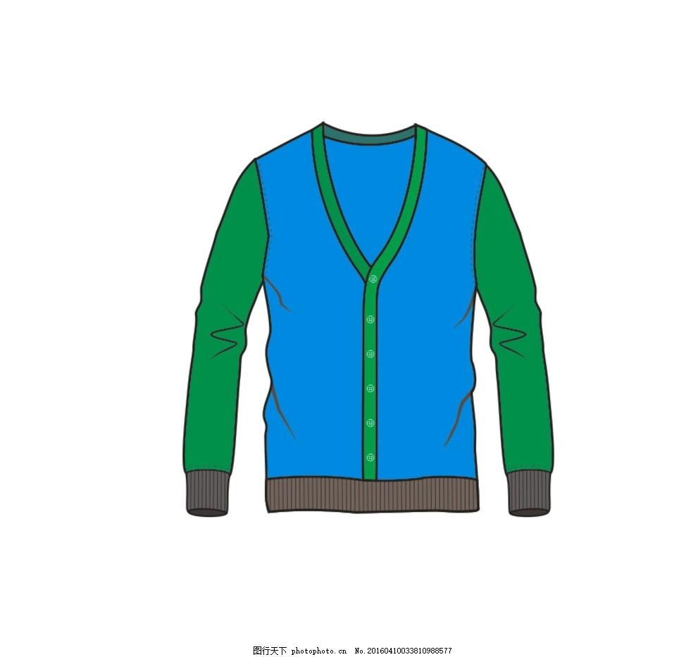 服装款式图 服装 开衫 款式图 羊毛衫 卫衣 设计 其他 图片素材 cdr
