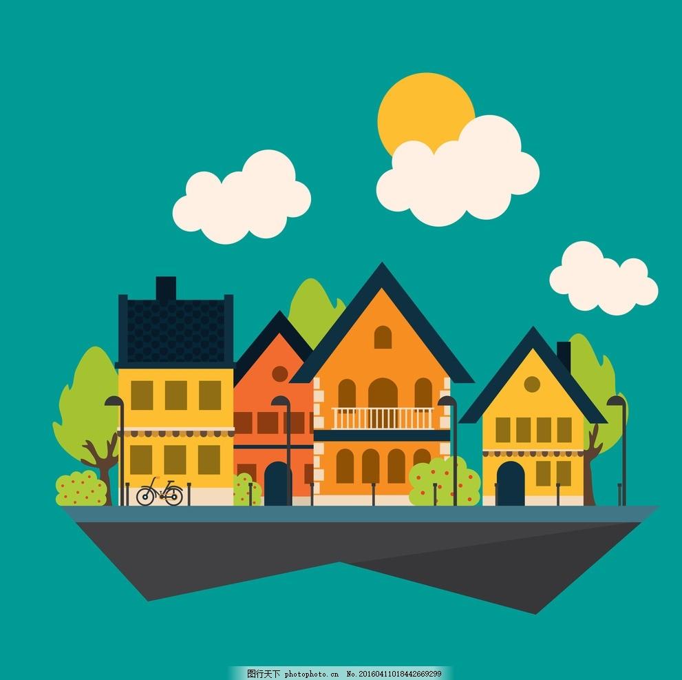 卡通画房屋建筑 漫画 云朵 绿色 城市 设计之家 动漫动画