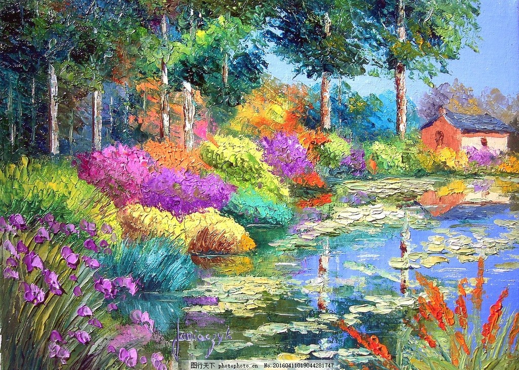 风景油画 美丽的油画 村庄油画 小屋油画 树木油画 树林油画 书法