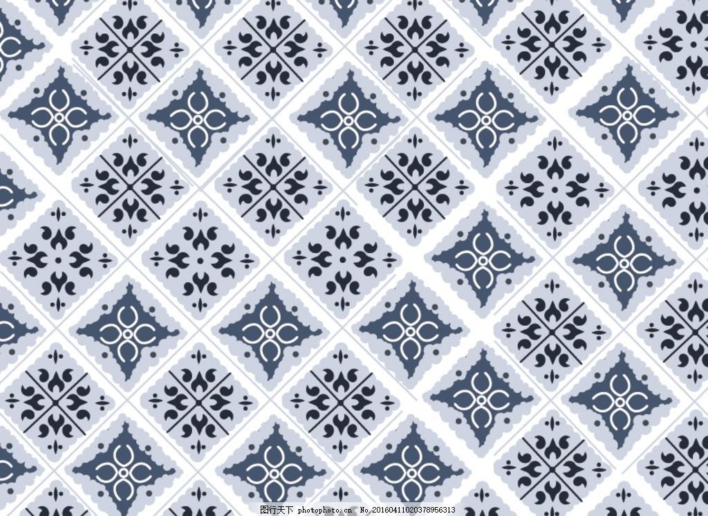 欧式花纹 灰蓝色 对称方形 花纹 半圆 设计 底纹边框 花边花纹 ai
