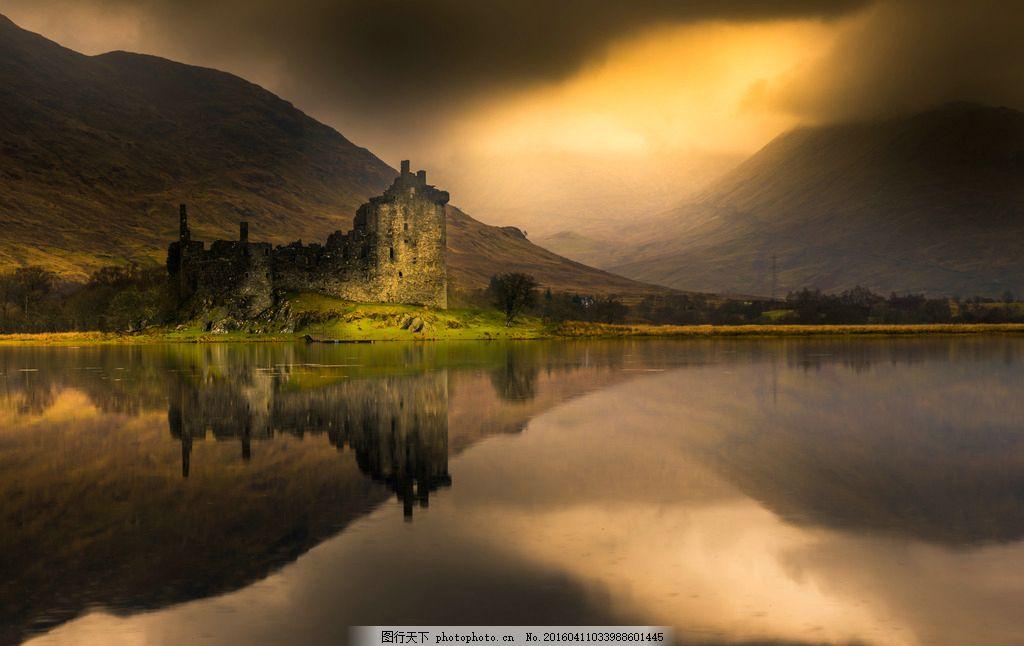 山间荒废的古堡 荒芜 城堡 湖水 水边 湖面 田园 摄影 国外旅游