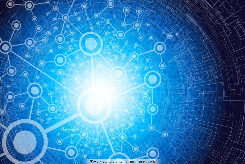 蓝色科技白线圈 电路图 三维 科技背景 多彩背景 现代科技 动感科技