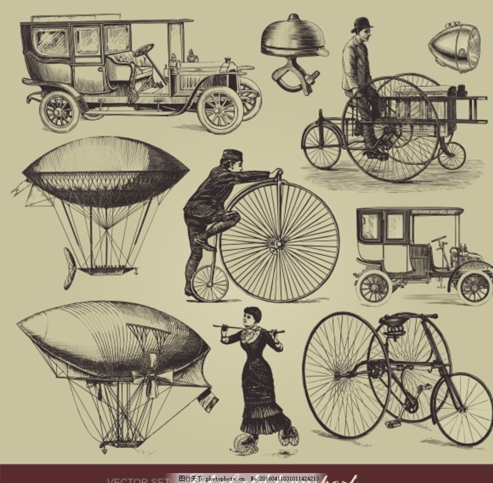 手绘怀旧 欧式复古 背景矢量素材      复古背景 人物 欧洲 自行车