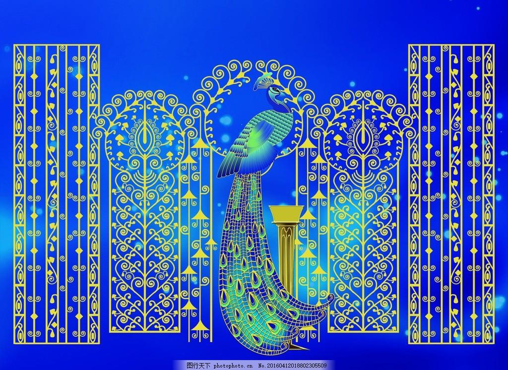唯美孔雀背景 孔雀 背景 唯美 蓝色 金色 欧式 设计 文化艺术 传统