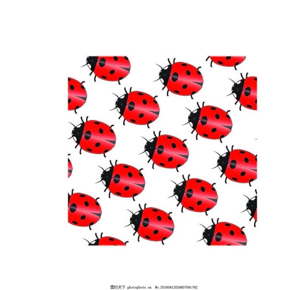 花朵 连续图案 动物 虫类 七星瓢虫 背景 底纹 生物