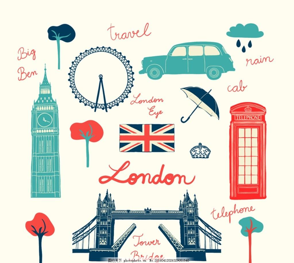 英国元素 英伦 伦敦眼 摩天轮 英国国旗 车 电话亭 伊丽莎白塔图片