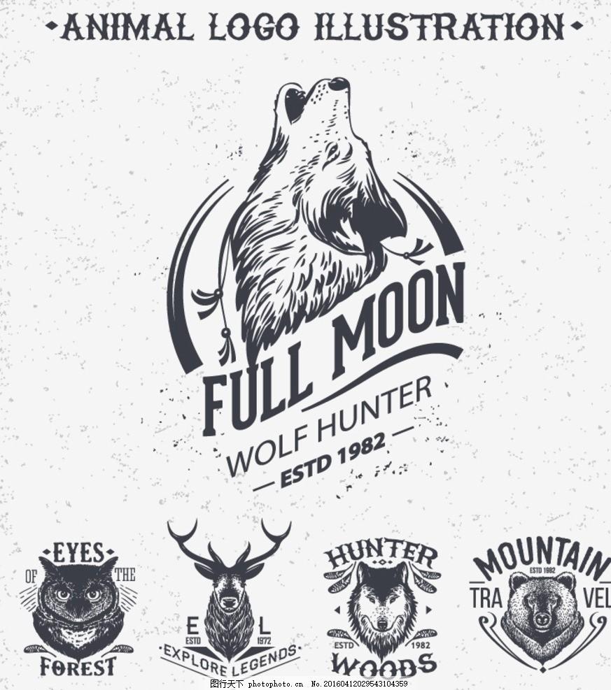 5款野生动物头像标志矢量图 鹿猫熊狼 狼头 插画