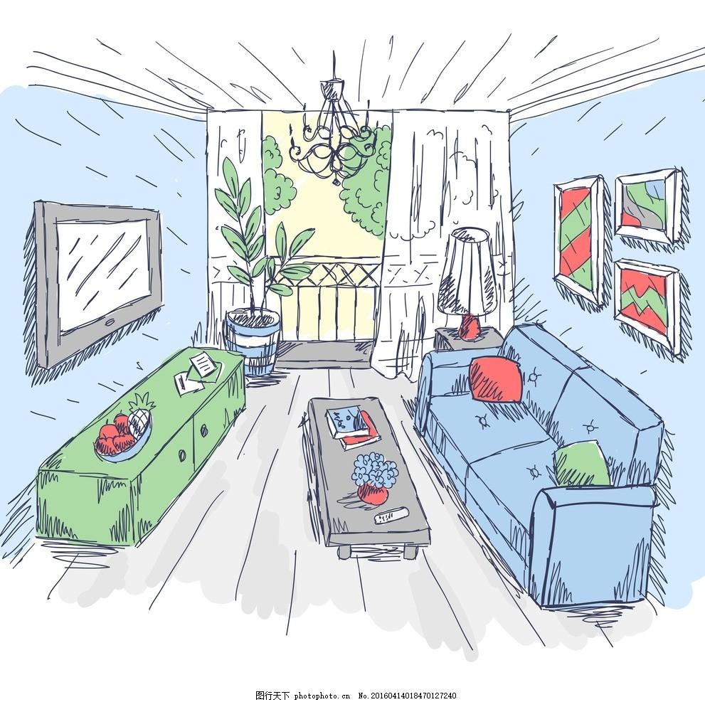 室内装修素描画 卡通画 手绘 家庭 沙发 茶几 电视 壁画 设计之家图片