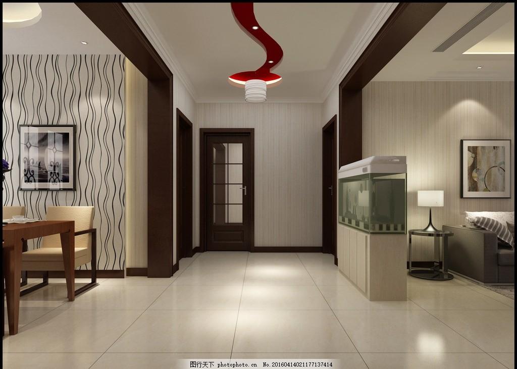 走廊效果图 走廊 吊顶 鱼缸 哑口 门 家装 设计 3d设计 3d作品 72dpi