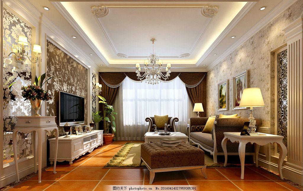 室内设计效果图 客厅 欧式 电视背景墙