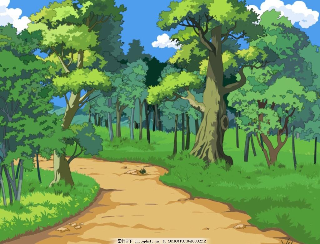 手绘树林 手绘矢量 卡通 风景 绿色 天空 树木 草地 动漫动画