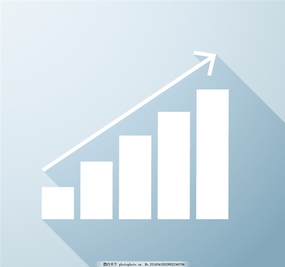 简洁业务增长图设计矢量素材 企业 盈利 箭头 商务 图表 矢量图