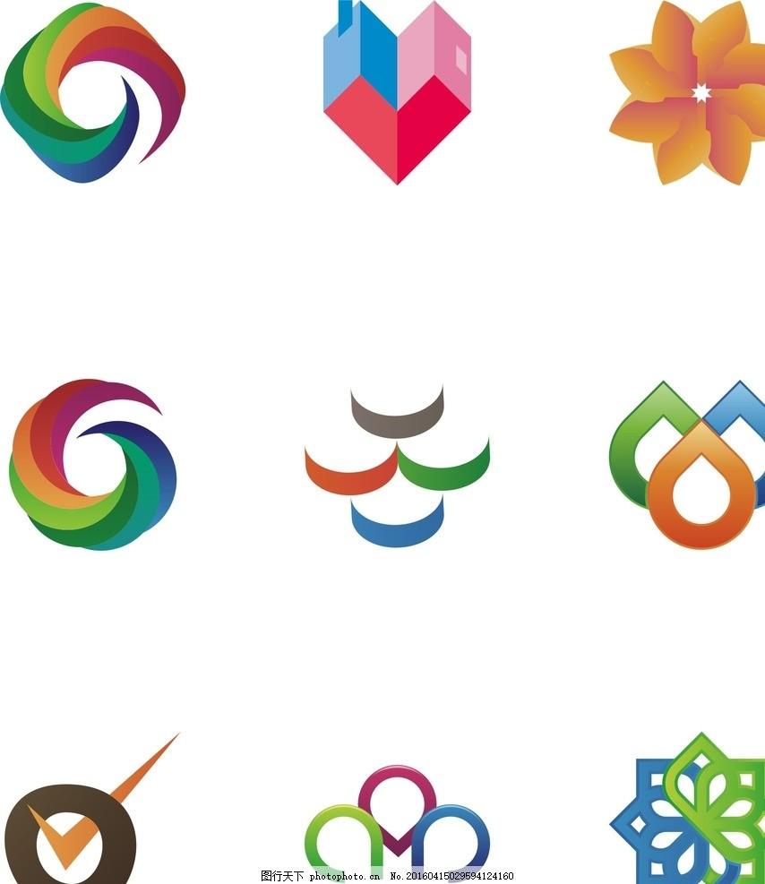 形状 七色花 花纹 装饰 色彩 颜色 缤纷 斑斓 标志 标签 插画 网页 网