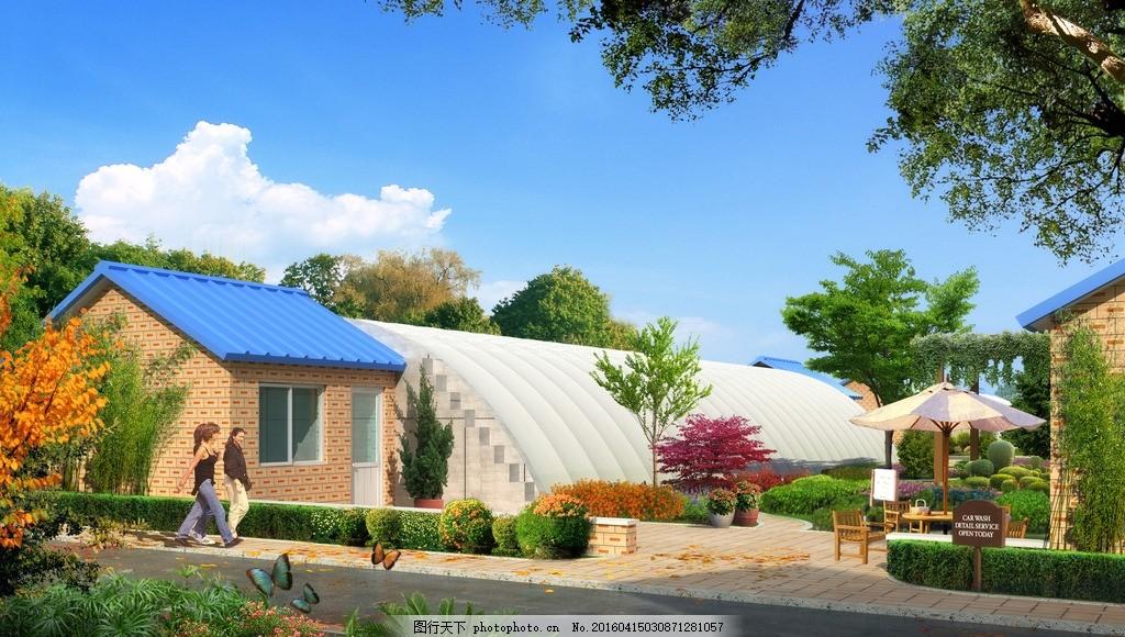 效果图 大棚鸟瞰图 生态园 温室大棚 温室 景观 园林 树 草地 房子 新