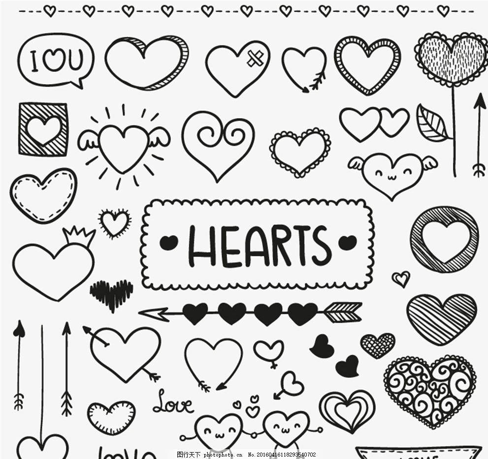 手绘爱心元素矢量素材 爱心 箭 花纹 皇冠 卡通 拉旗 花边 气球 情人