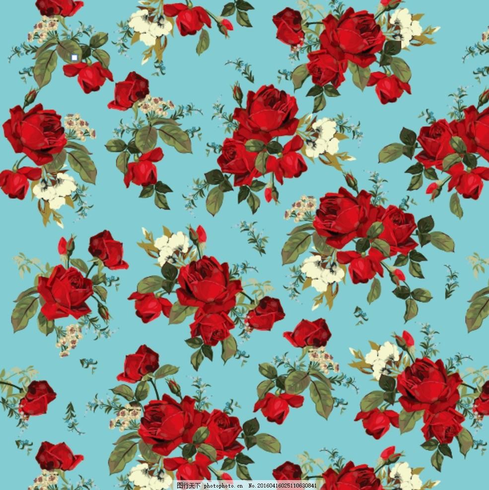 矢量无缝拼接手绘玫瑰花 印花