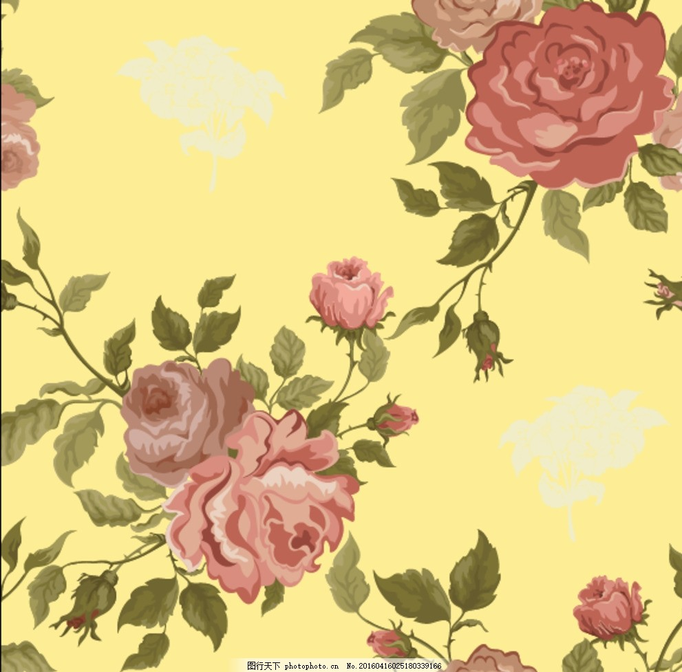 复古 无缝拼接 牡丹花 印花图案 矢量 设计 生物世界 花草 eps