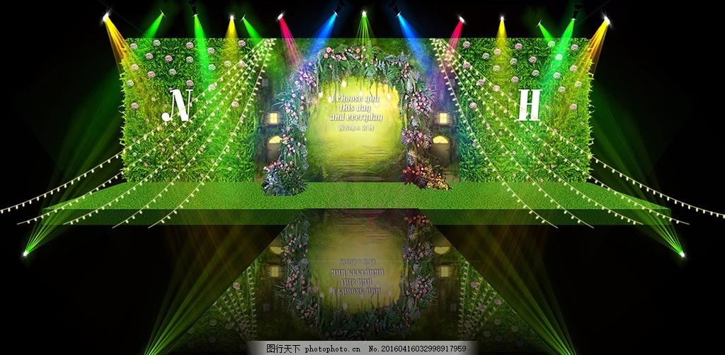 森系婚礼舞台效果,舞台背景 绿色婚礼 灯光效果-图行