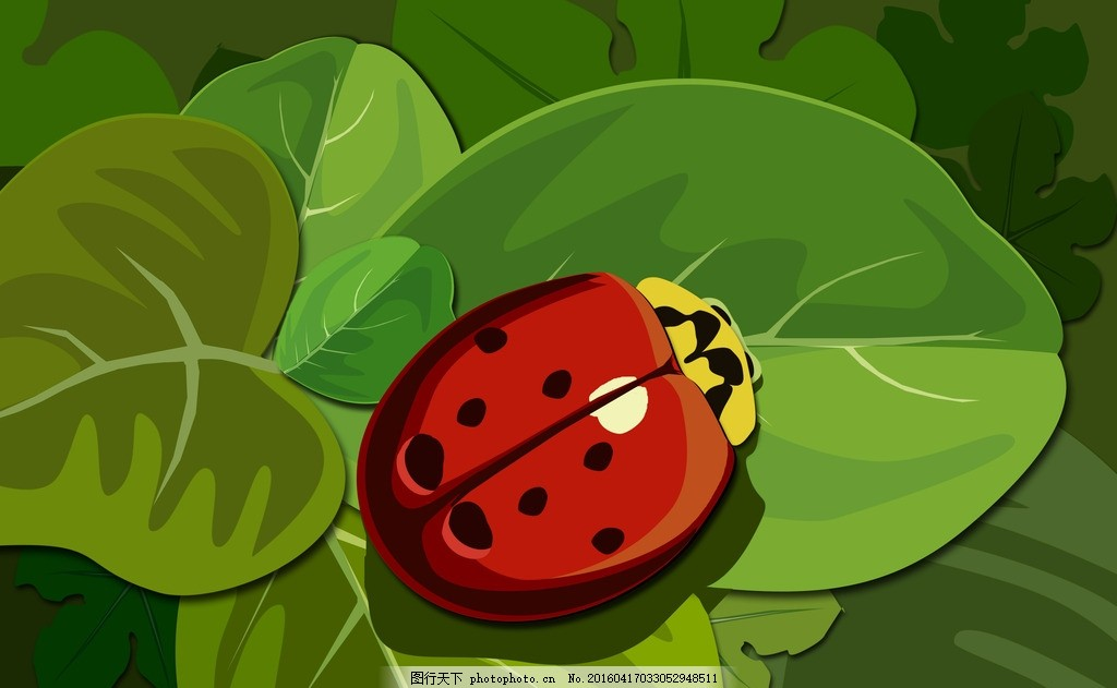 七星瓢虫 七星 瓢虫 树叶 昆虫 丛林 原创作品 设计 psd分层素材 psd